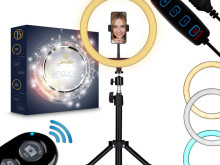 Stable tripod with ring light and mobile phone holder