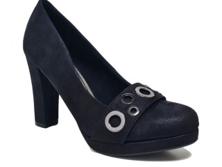 Black Sprox faux suede high heel shoes with eyelets