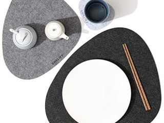 Felt Placemats and Coasters Set of 6 Non-Slip Heat Resistant