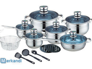 Cookware set - 18 pieces - stainless steel