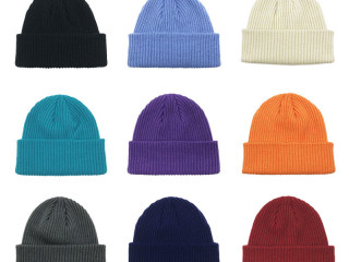 Solid color acrylic knitted beanie