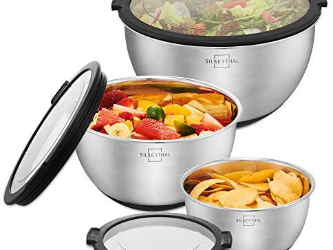 SILBERTHAL stainless steel bowl set with lid - 3 pieces - like new