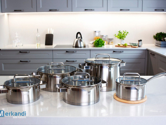 Stainless steel pots with heat-resistant lid